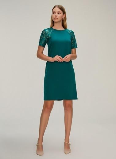NGSTYLE Kolları Dantel Elbise Yeşil